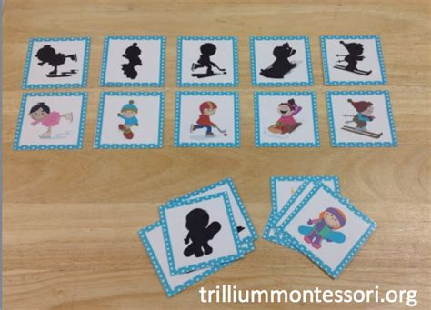 montessori and preschool printables for winter trillium 117 | January Preschool Winter Sports Shadow Matching