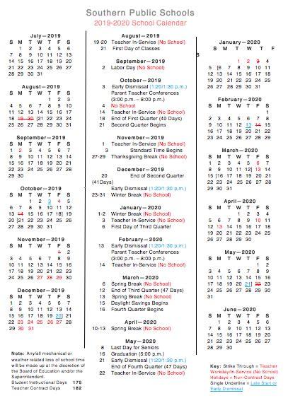 southern schools district calendar