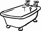 Tub Bathtub Clipart Bathroom Coloring Bath Clip Pages Cliparts Shower Tubs Messy Clipground Related sketch template