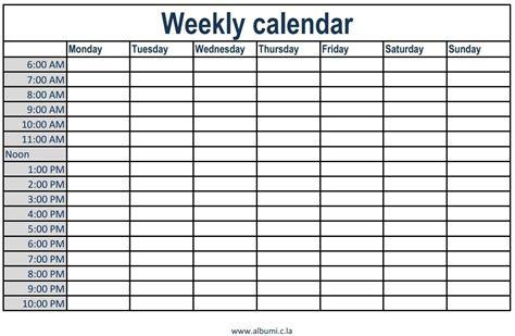 printable calendar  time slots ten