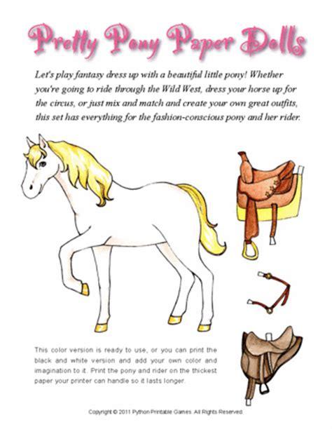 pony paper dolls  print printable games