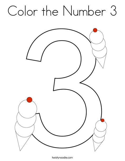 color the number 3 coloring page twisty noodle