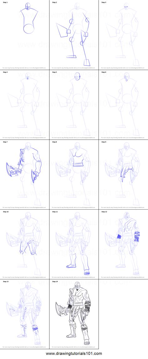 How To Draw Kratos From God Of War Printable Step By Step