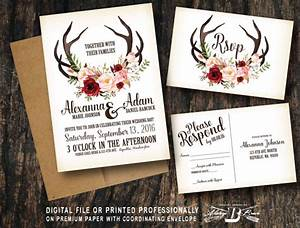 rustic wedding invitation set deer antler horns marsala red With wedding invitations red deer