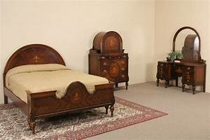 Marquetry 192039s full size antique bedroom set 3 pc ebay for Antique bedroom sets