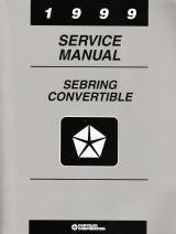 car repair manual download 1999 chrysler sebring lane departure warning 1999 chrysler sebring convertible factory service manual
