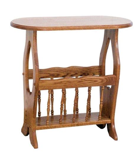 magazine rack table l amish oval hickory end table with magazine rack heart