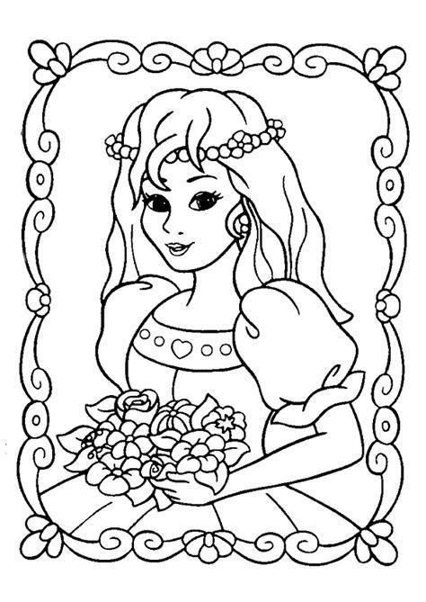 jeux des cuisine des filles coloriage princesse et bouquet de fleurs