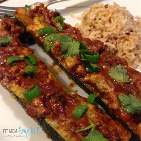 ground beef enchilada zucchini boats fit mom angela d