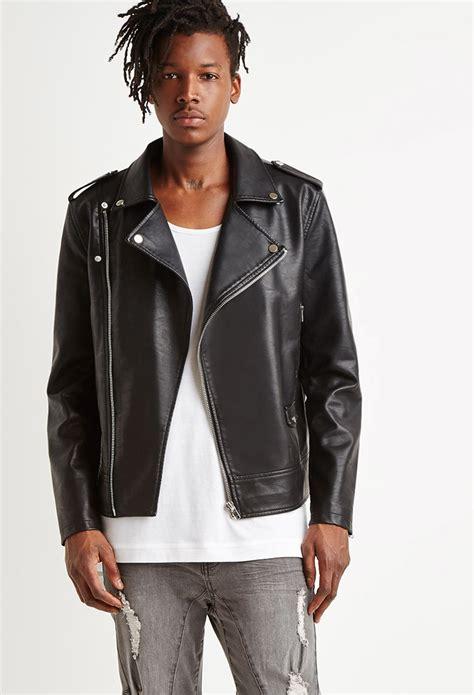 jacket moto lyst forever 21 faux leather moto jacket in black for men