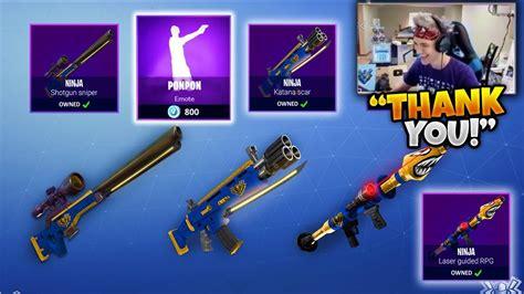 ninja reacts     weapon skins emotes