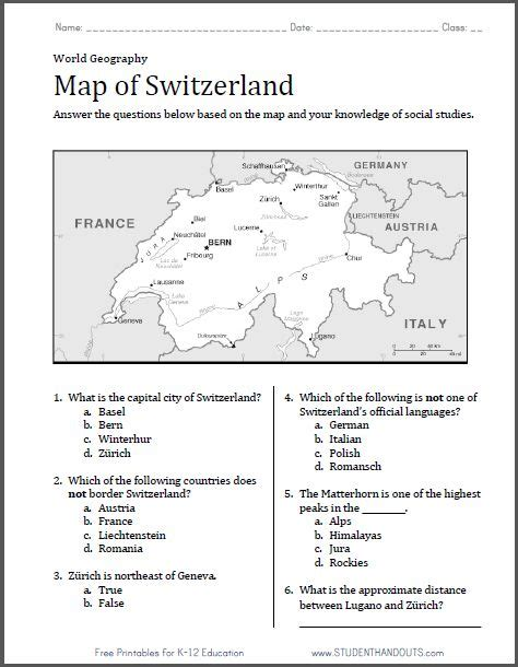 Switzerland Map Worksheet  Free To Print (pdf File) With Six Questions  World History