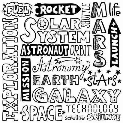 Words Drawn Space Hand Doodles Text Rocket