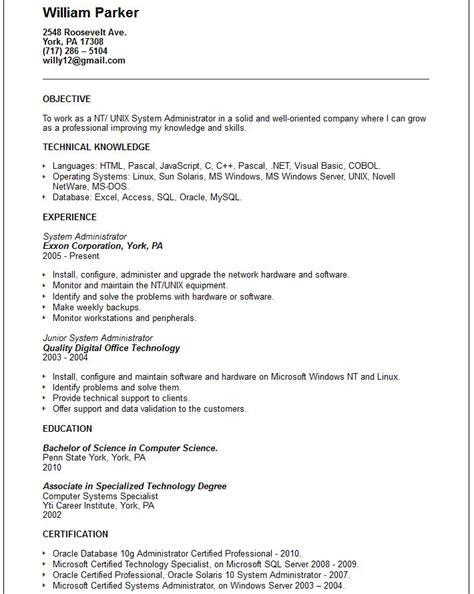 system administrator resume linux free resume sles