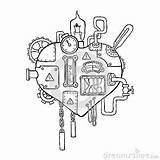 Heart Mechanical Gears Steampunk Pipes Drawing Drawings Wires Gear Dreamstime Stylized Embedded Mechanisms Variety Graphic Tattoo Pencil Caliper Vector Coloring sketch template
