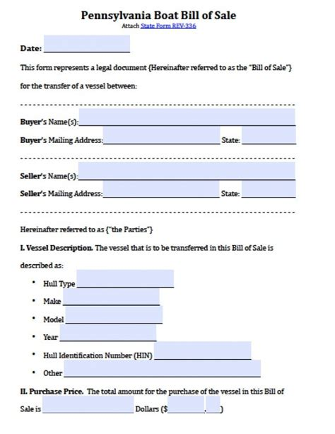 Used Boat Bill Of Sale Form by Free Pennsylvania Boat Bill Of Sale Form Pdf Word Doc