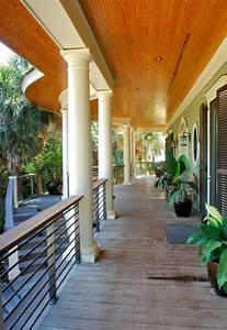 Curved, Front, Porch, Gives, A, Hint, Of, Curved, Rear, Fa, U00e7ade, -, Tropical, -, Porch, -, Charleston
