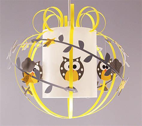 suspension luminaire chambre garcon suspension mobile hibou gris et jaune fabrique casse