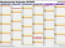 Akademischer Kalender 20192020 als WordVorlagen zum