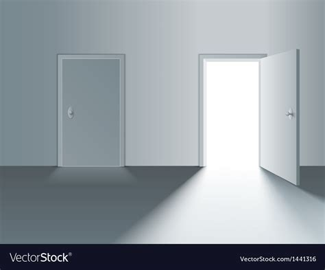 Closed And Open Door Royalty Free Vector Image