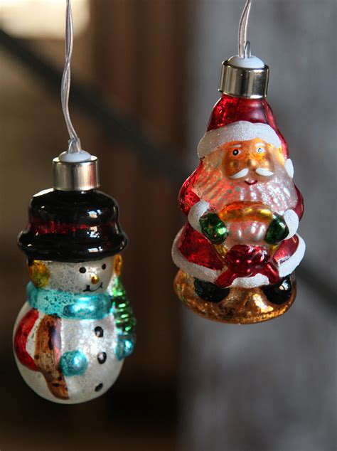 battery operated antique snowmen glass string lights