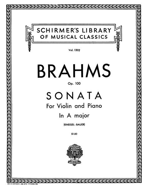 Violin Sonata No2, Op100 (brahms, Johannes) Imslp