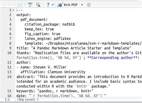 markdown template  academic manuscripts steven