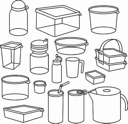 Plastic Container Vector Tupperware Clipart Clip Illustrations