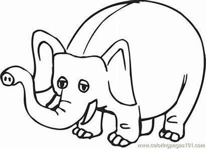 Cartoon Coloring Elephant Pages Gajah Animals Drawing