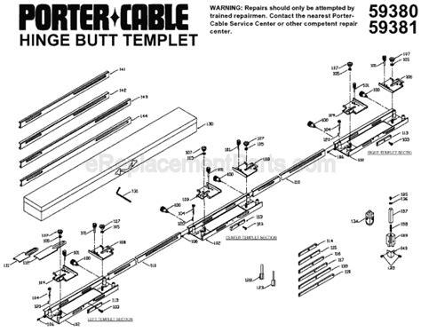 porter cable hinge template porter cable 59381 parts list and diagram ereplacementparts
