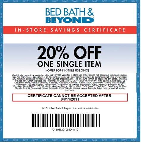 Bed Bath & Beyond: 20% off Item Printable Coupon