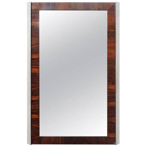 Rosewood And Chrome Wall Mirror Midcentury Modern