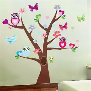Cute owls tree wall stickers for kids room decorations nursery cartoon children girls decals