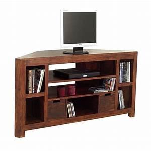 Meuble Angle Bois : meuble tv d 39 angle en bois exotique d co tendance zen ~ Edinachiropracticcenter.com Idées de Décoration