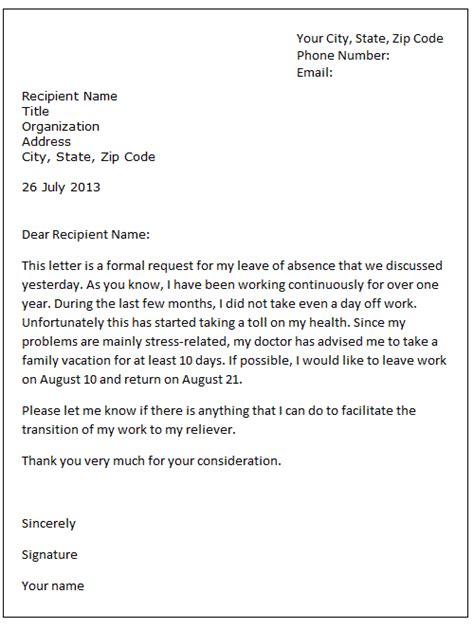 leave  absence letter sample formal letter samples