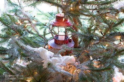 natural cabin   snow christmas treefunky junk interiors