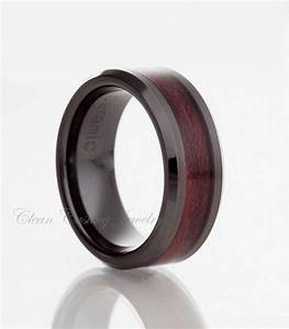 Black ceramic ringburgundy wood inlaymens ringblack for Black ceramic wedding ring