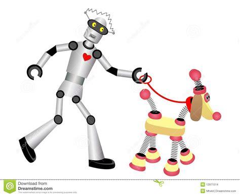 Robot Walking Robot Dog On Leash Stock Illustration
