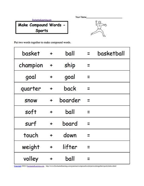 sport worksheets for make compound words sports