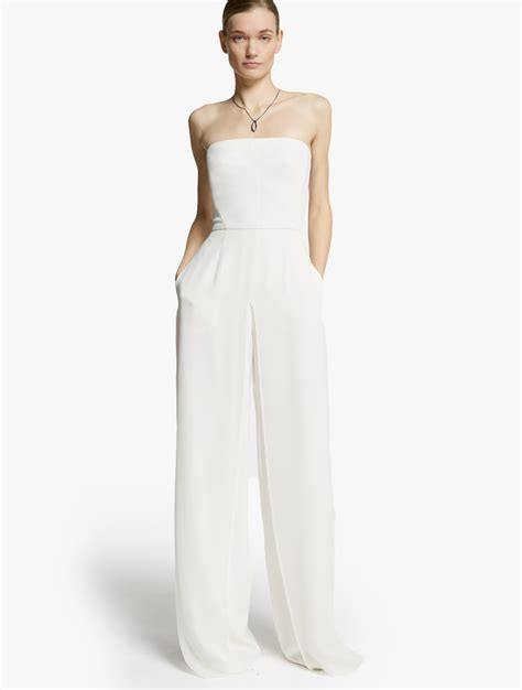 strapless jumpsuit chiffon overlay strapless jumpsuit in white lyst