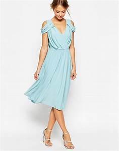 asos wedding drape cold shoulder midi dress navy in blue With cold shoulder dresses for wedding