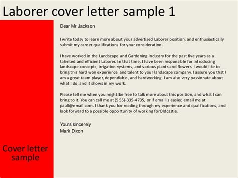 Cover Letter For Laborer Position by Laborer Cover Letter
