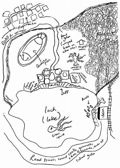 Hogwarts Rowling Map Potter Harry Sketch Jk