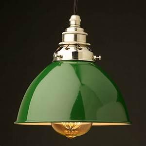 Green enamel dome e pendant