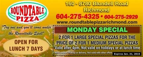 round table pizza cloverdale monday pizza special at round table pizza restaurant