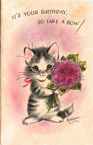 kitten  images vintage birthday cards happy