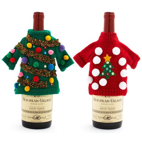 aytai 3pcs ugly christmas sweater wine bottle cover handmade wine bottle sweater for christmas decorations ugly christmas sweat sweater wine bottle covers the green