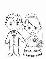 Colorare Disegni Sposa Sposo Bride sketch template
