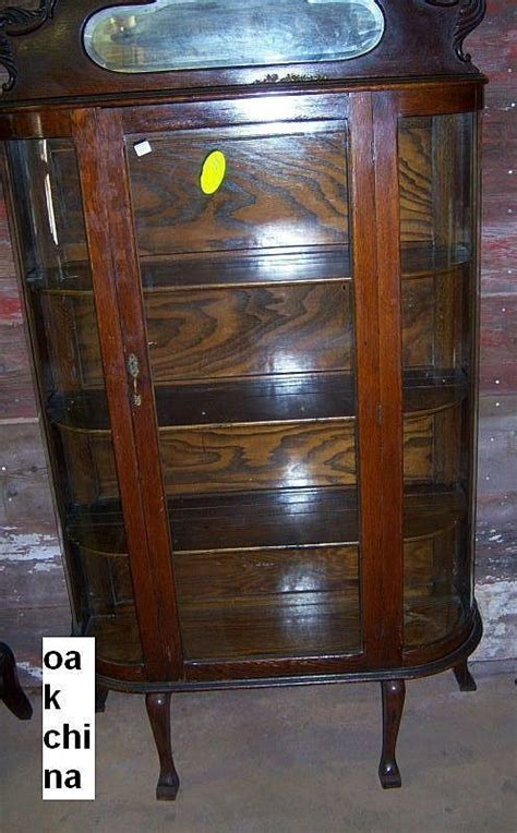 Vintage Curved Glass Curio Cabinet by Oak Curved Glass China Cabinet From Robertsantiques On