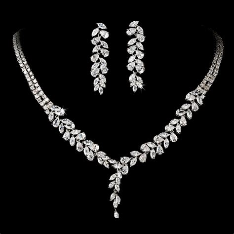 intricate cubic zirconium crystal leaf bridal necklace